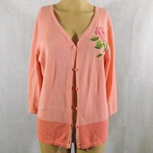 Womens CHRISTOPHER & BANKS Cardigan - Pink - Sz M